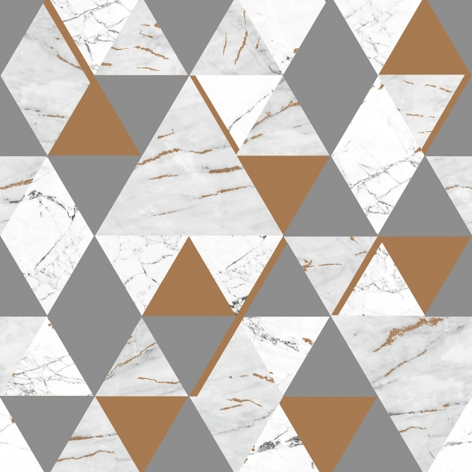 House of Alice Onyx Marble Metallic Wallpaper Grey, Copper (H980568)
