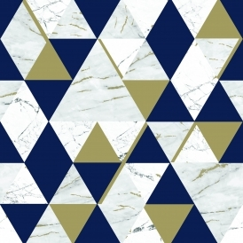 Onyx Marble Metallic Wallpaper Navy Blue Gold H980565