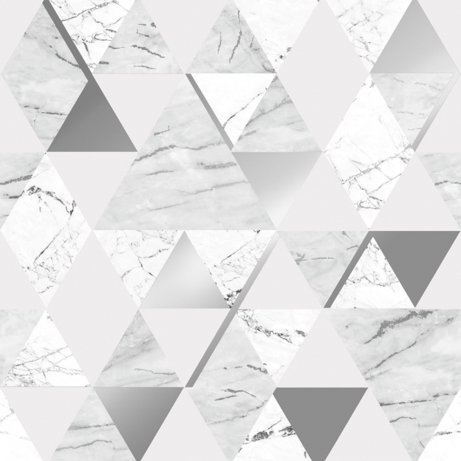 House of Alice Onyx Marble Metallic Wallpaper Soft Grey Silver