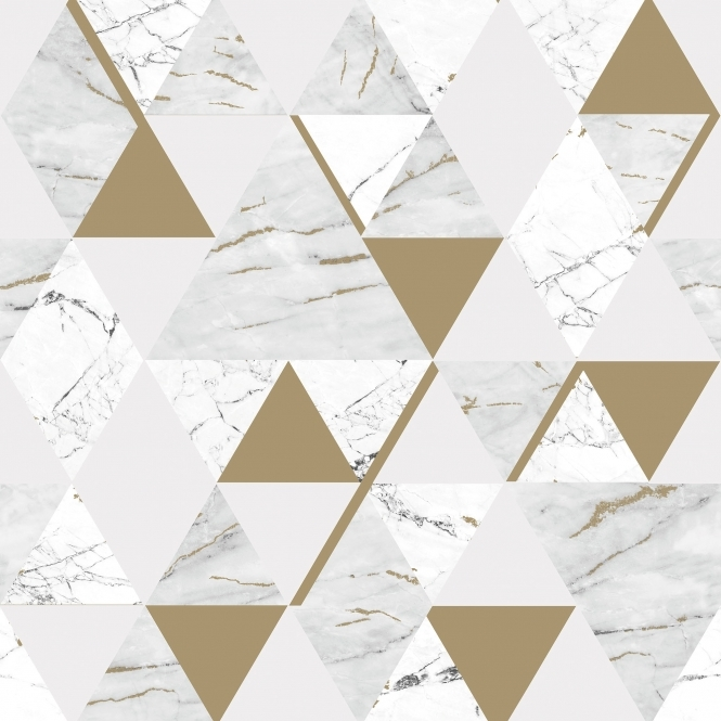 House of Alice Onyx Marble Metallic Wallpaper White, Gold (H980566)