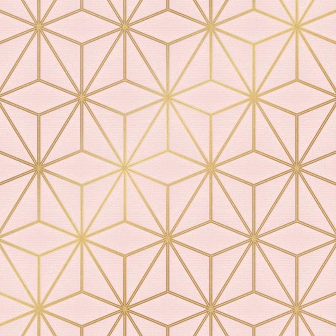 Astral Metallic Geometric Wallpaper Blush Pink Gold