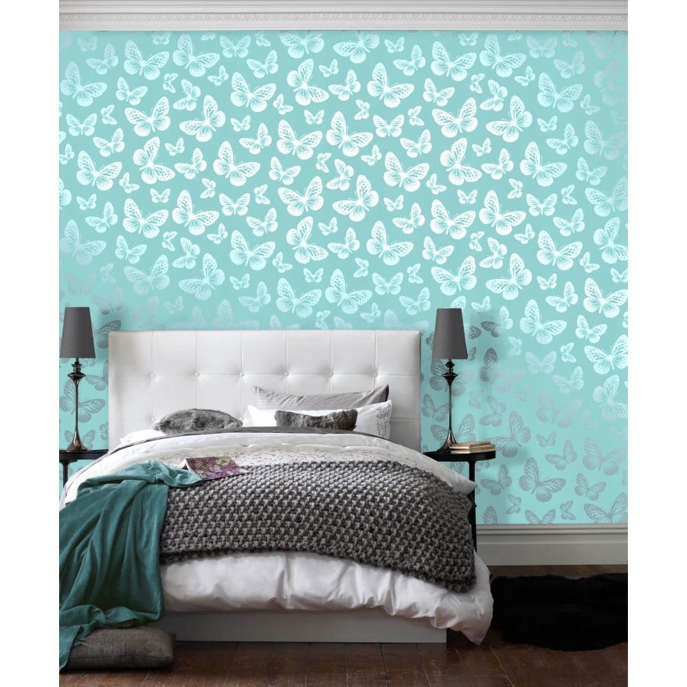 I Love Wallpaper Butterfly Shimmer Wallpaper Metallic Silver / Teal  (ILW980004)