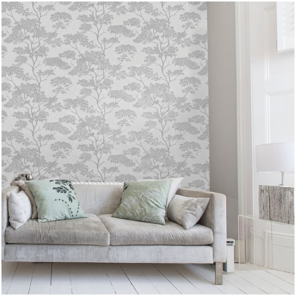 Silver grey living room wallpaper for Grey and silver wallpaper living room