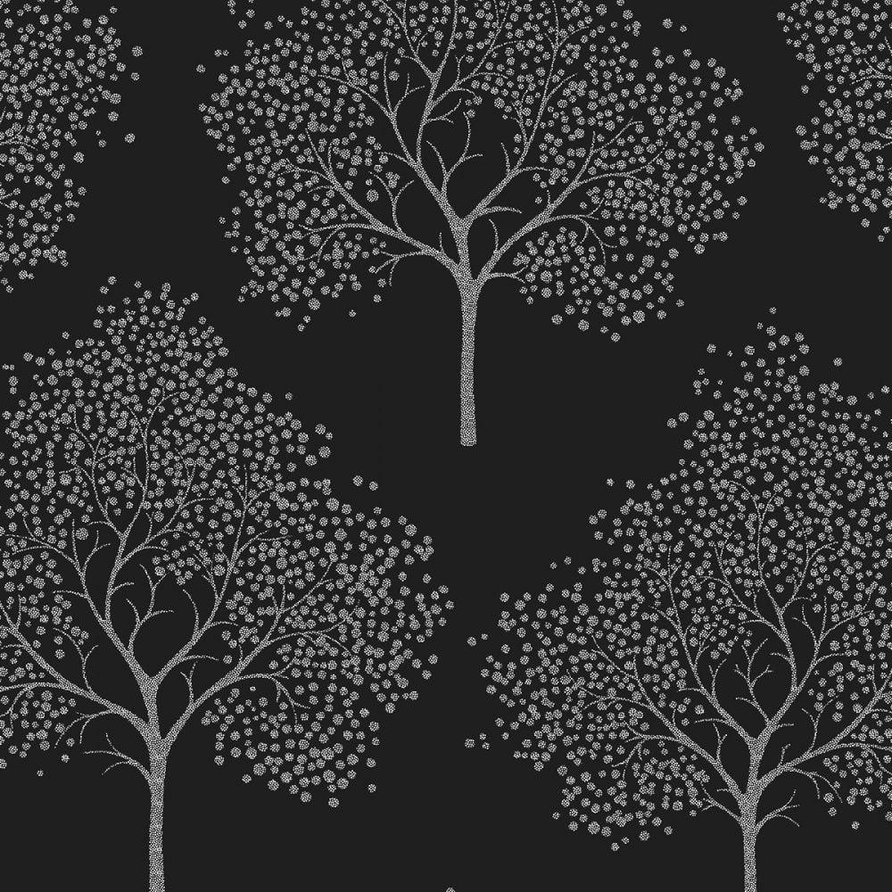 Glitter Tree Wallpaper Black Silver ILW980028