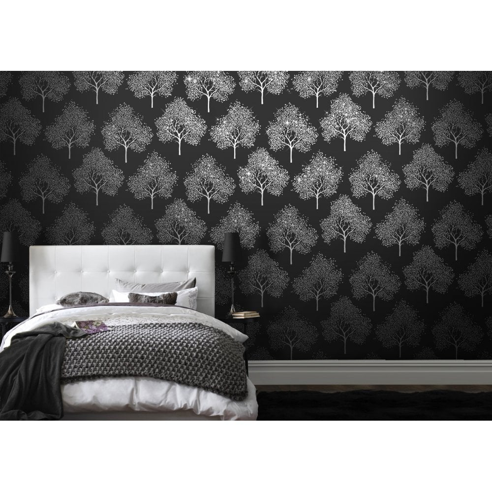 I Love Wallpaper Glitter Tree Wallpaper Black Silver Glitter