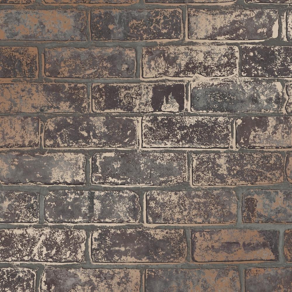 Brick Wall Paper i love wallpaper metallic brick wallpaper brown (ilw980077