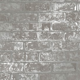 I Love Wallpaper Metallic Brick Wallpaper Grey (ILW980078)