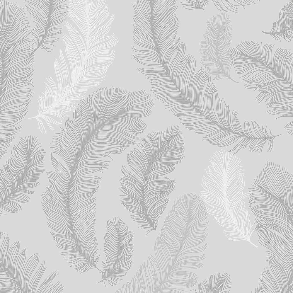 Plume Feather Wallpaper Grey Silver ILW3101