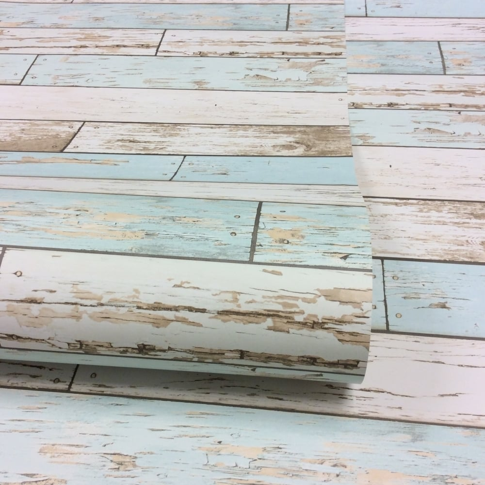 Rustic Wooden Plank Wallpaper Natural   White   Teal  ILW980072. I Love Wallpaper Rustic Wooden Plank Wallpaper Natural   White