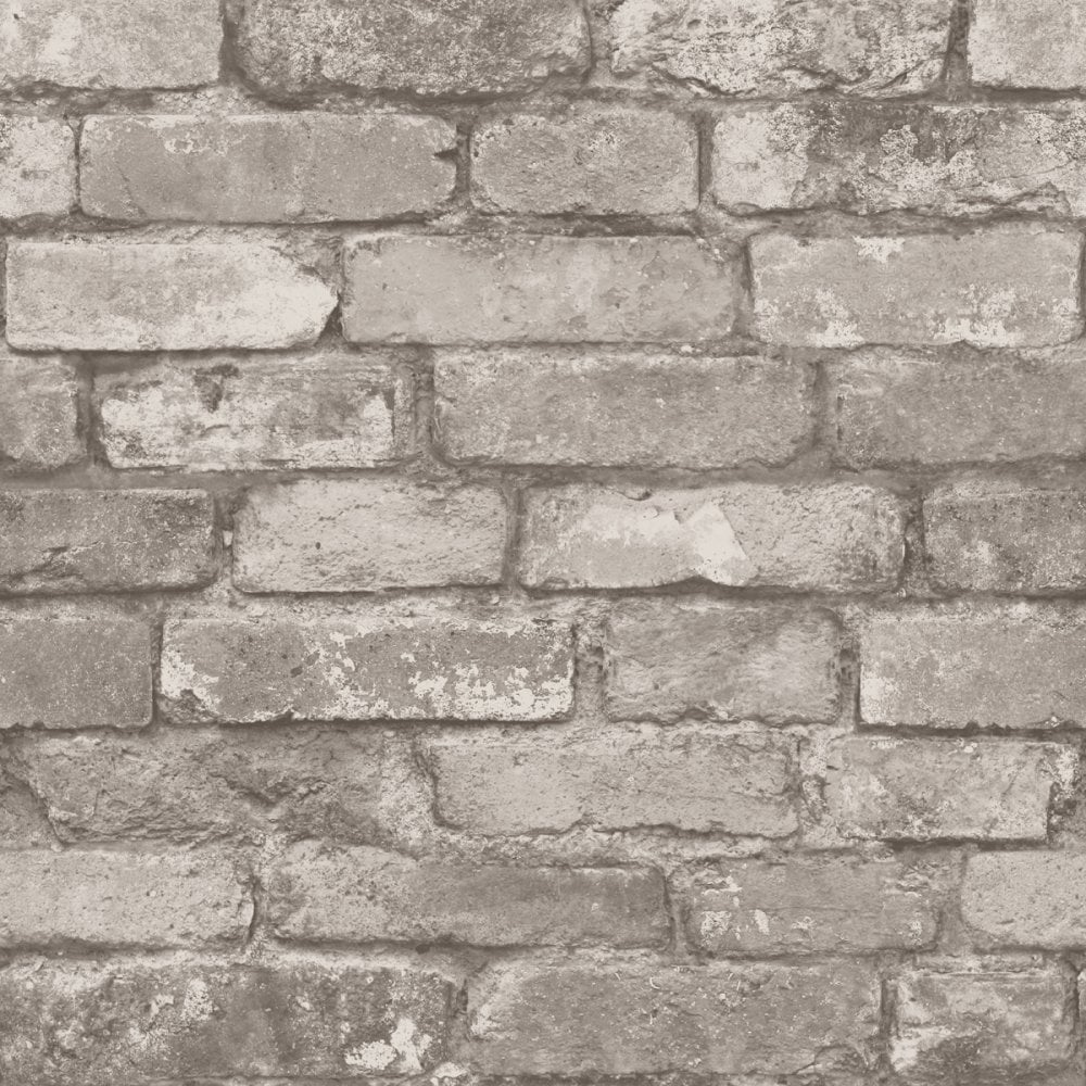 I Love Wallpaper SAMPLE Rustic Brick Silver Grey ILW980058