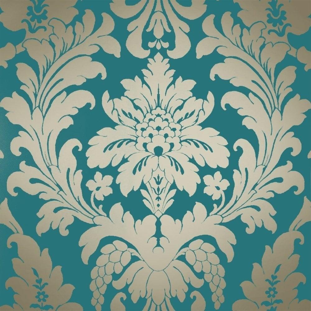 I love wallpaper sample shimmer metallic grande damask for Teal kitchen wallpaper