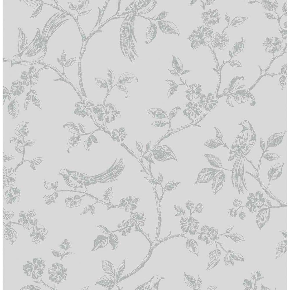 I Love Wallpaper Shimmer Birds Wallpaper Soft Grey