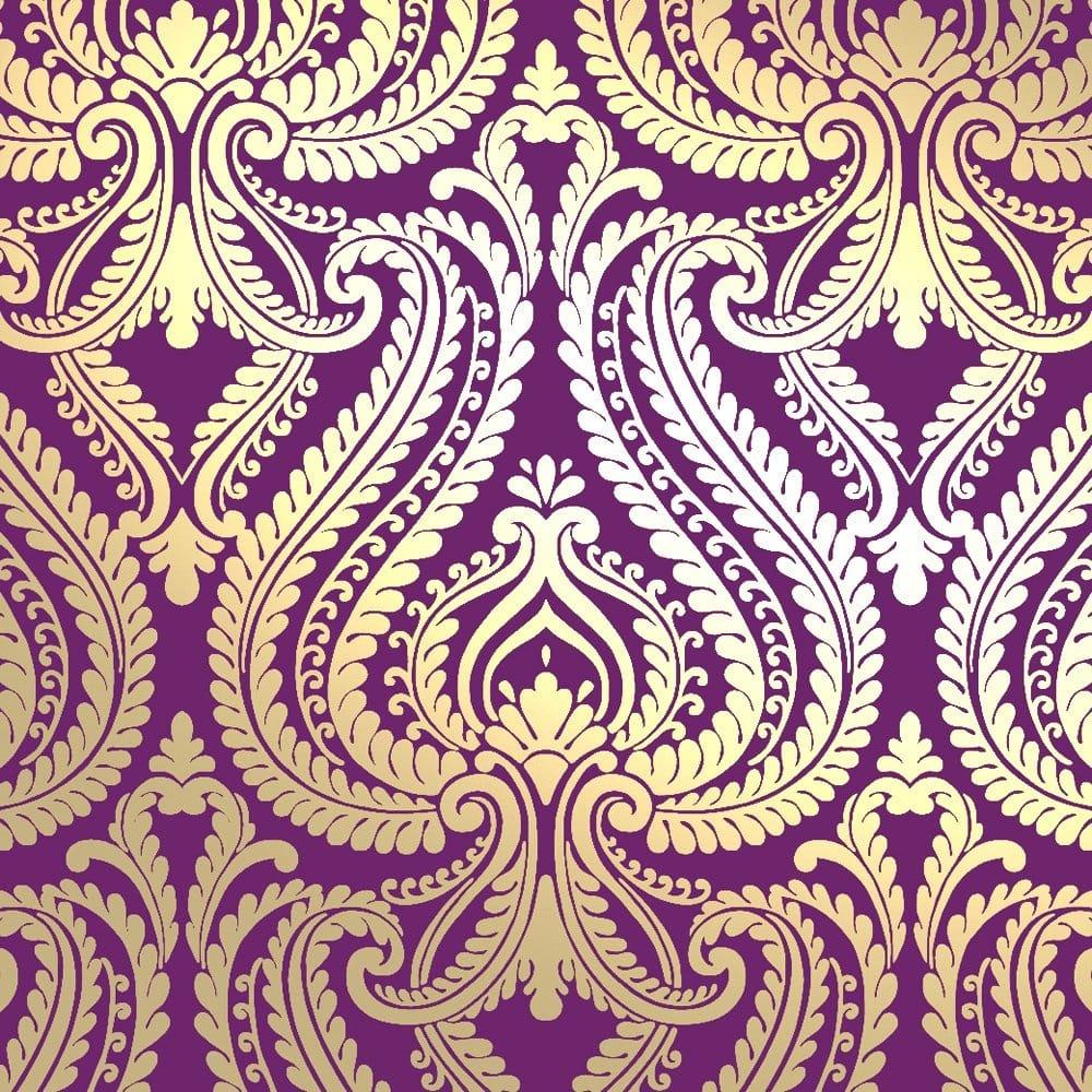 I Love Wallpaper Shimmer Damask Metallic Wallpaper Purple Gold