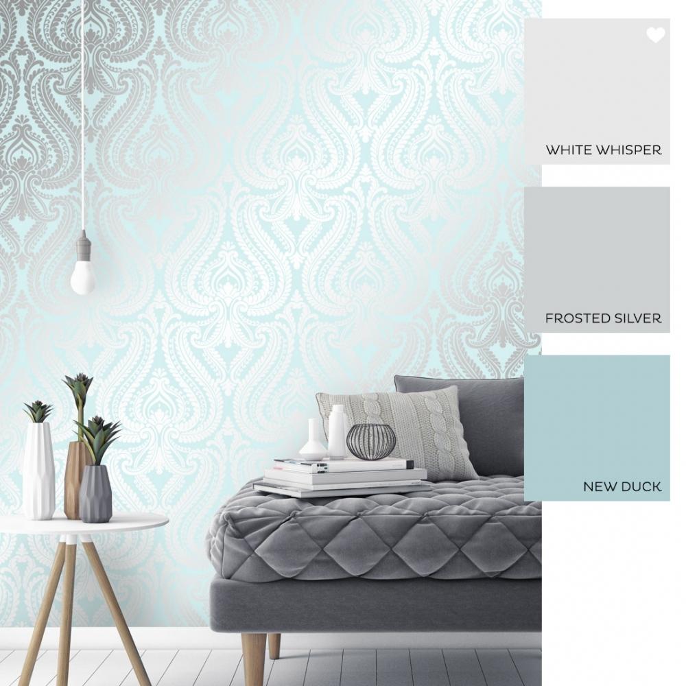 shimmer damask metallic wallpaper teal silver