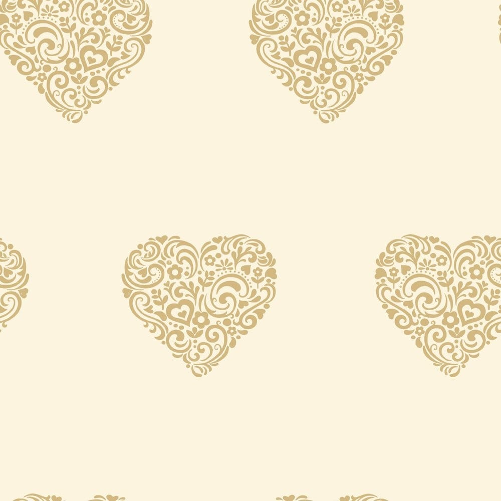 I Love Wallpaper Free Delivery code : I Love Wallpaper Shimmer Hearts Wallpaper cream / Gold (ILW980039) - Wallpaper from I Love ...