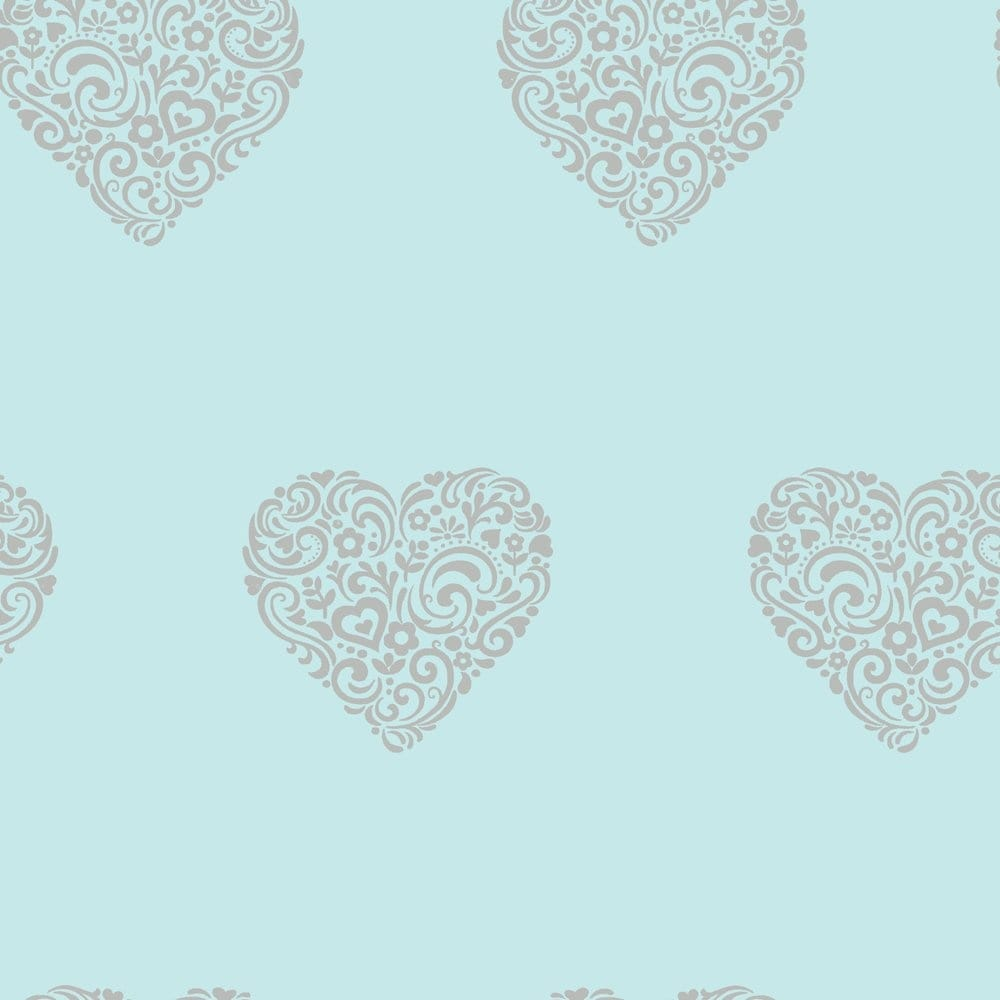 I love wallpaper shimmer hearts wallpaper teal silver