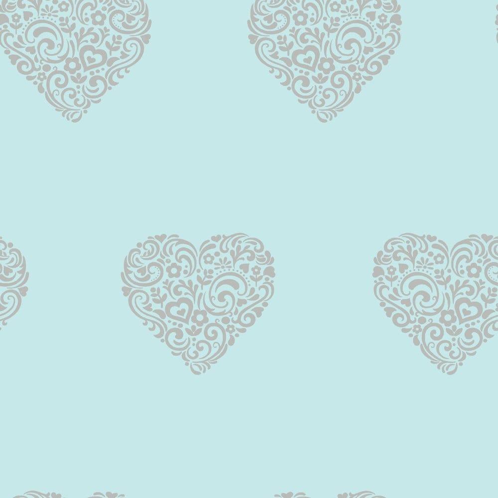 Teal Bedroom Wallpaper I Love Wallpaper Shimmer Hearts Wallpaper Teal Silver Ilw980041