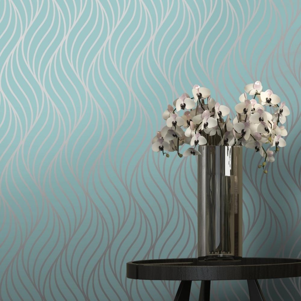Shimmer Indulge Wallpaper Teal Silver 50031 Wallpaper