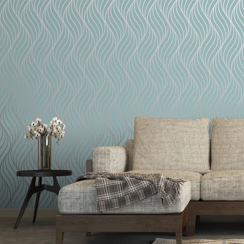 Teal wallpaper living room living room for Teal wallpaper living room