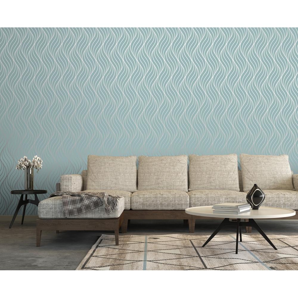 Shimmer Indulge Wallpaper Teal, Silver (50031) Part 24