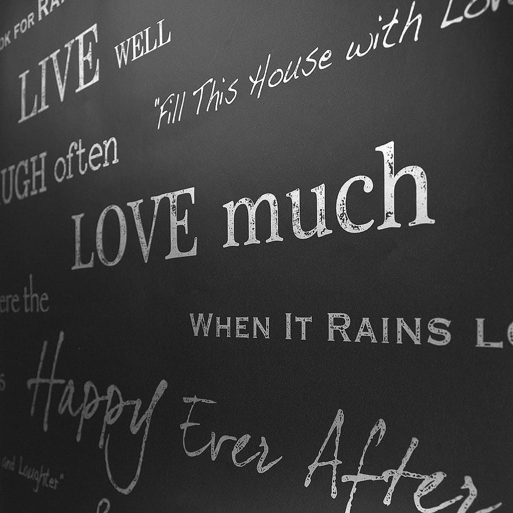 Shimmer Wall Quotes Wallpaper Black Silver ILW980021