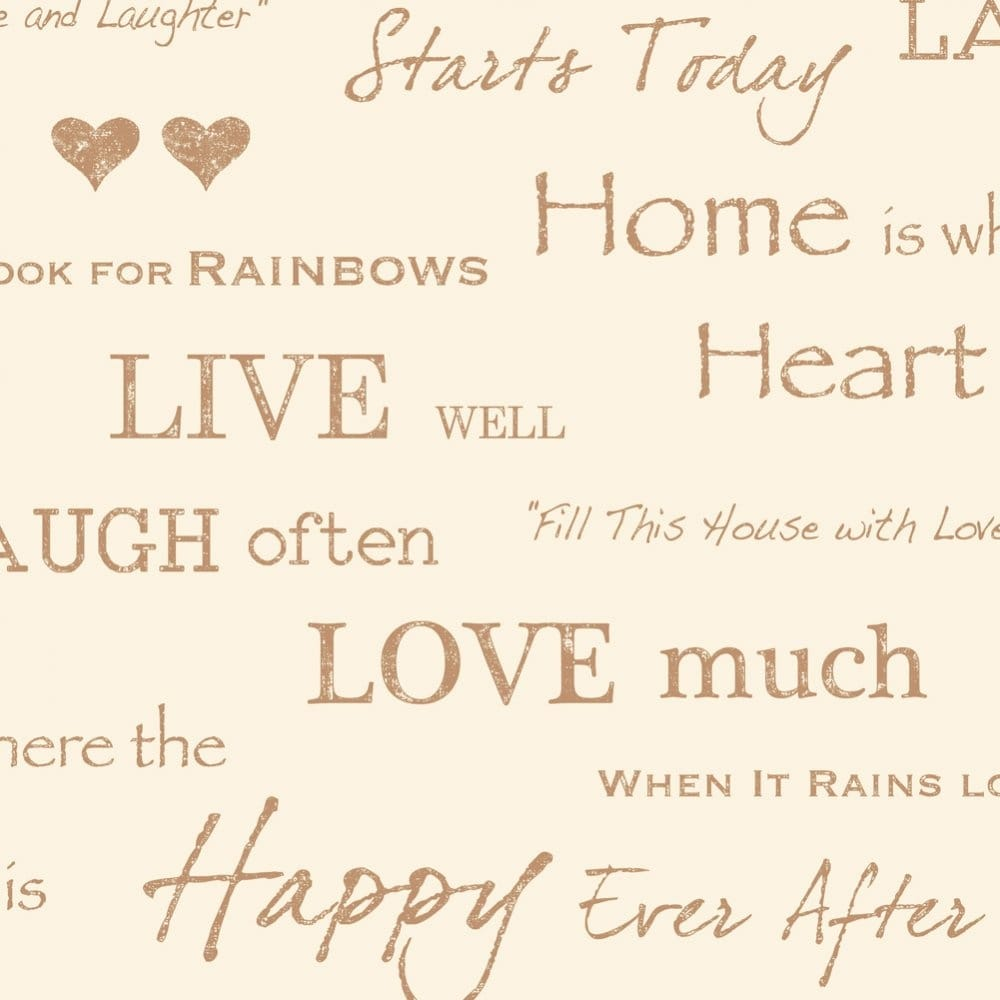 Love Wall Quotes I Love Wallpaper Shimmer Wall Quotes Wallpaper Cream  Gold