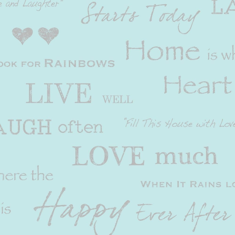 I Love Wallpaper Shimmer Wall Quotes Wallpaper Teal