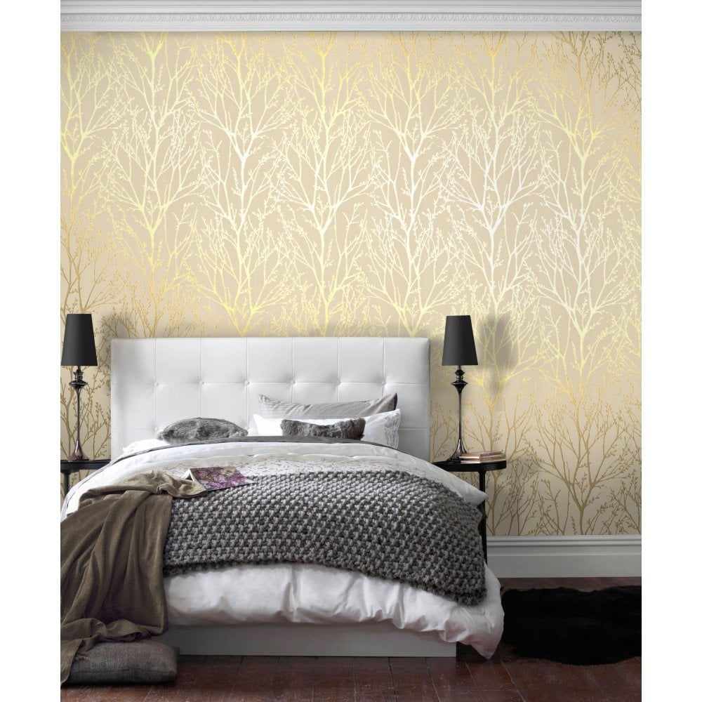 I Love Wallpaper Shimmer Wallpaper Metallic Gold / Cream ...