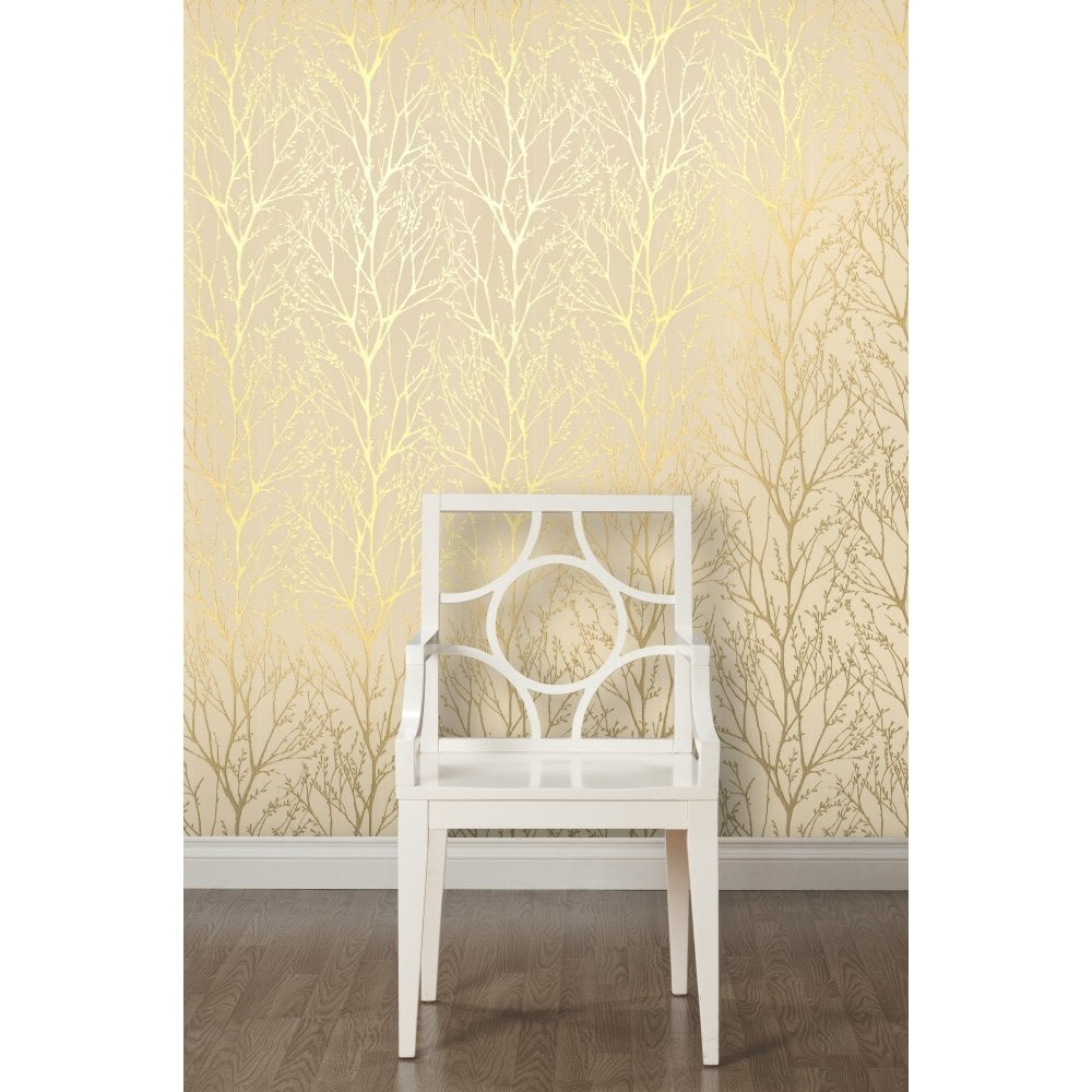 Shimmer Wallpaper Metallic Gold / Cream (ILW980005)