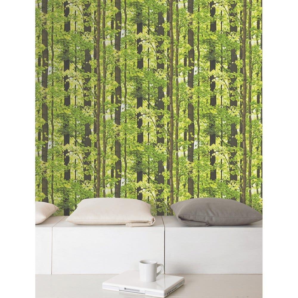 I Love Wallpaper Tranquil Forest Tree Mural Wallpaper Green