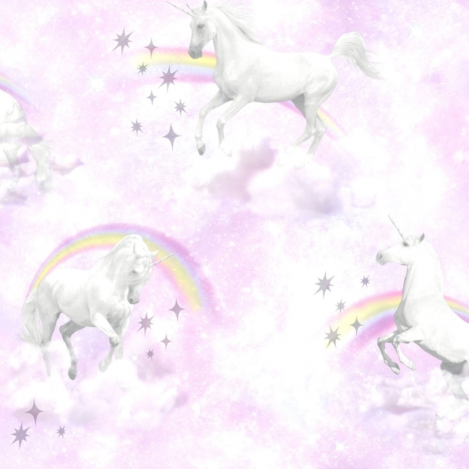 Unicorn Childrens Wallpaper Pink, Purple (50180)