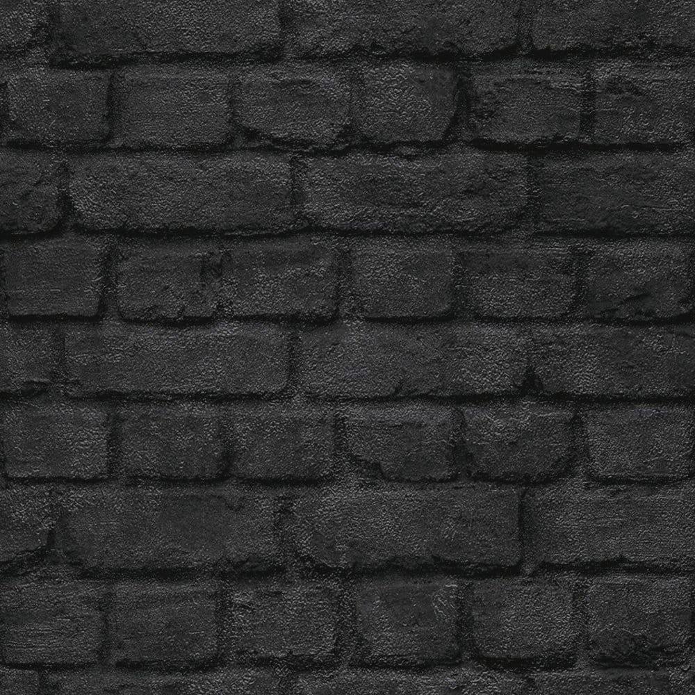 Warehouse Photographic Brick Effect Wallpaper Black Ilw261430