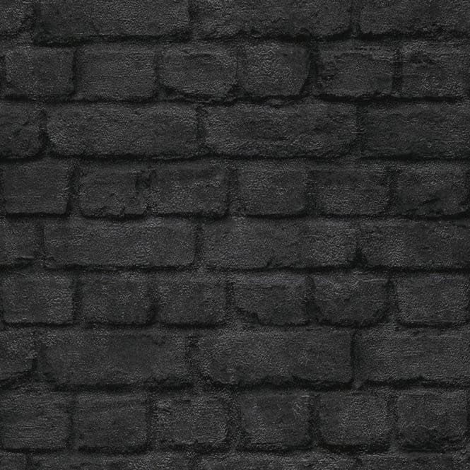 Warehouse Photographic Brick Effect Wallpaper Black ...