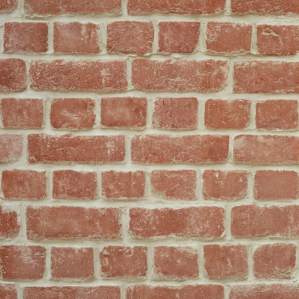 I Love Wallpaper Warehouse Photographic Brick Effect Wallpaper Red