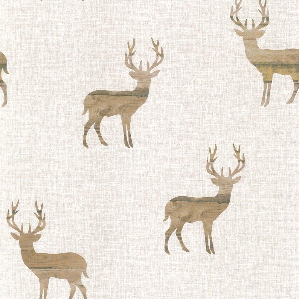 Wooden Stag Wallpaper Neutral Beige Cream ILW980020