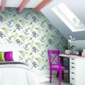 Imagine Botanical Dragonfly Wallpaper Green