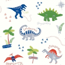 Imagine Fun Dino Doodles Dinosaur Wallpaper Multicoloured