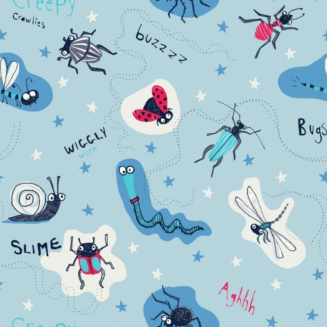 Arthouse Imagine Fun Dont Bug Me Childrens Insect Wallpaper Blue (667600)