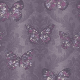 Imagine Midsummer Butterfly Wallpaper Plum