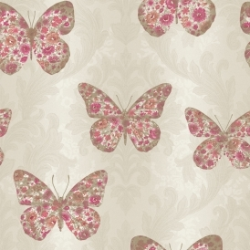 Imagine Midsummer Butterfly Wallpaper Red Copper