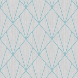 Indra Geometric Glitter Wallpaper Grey Blue