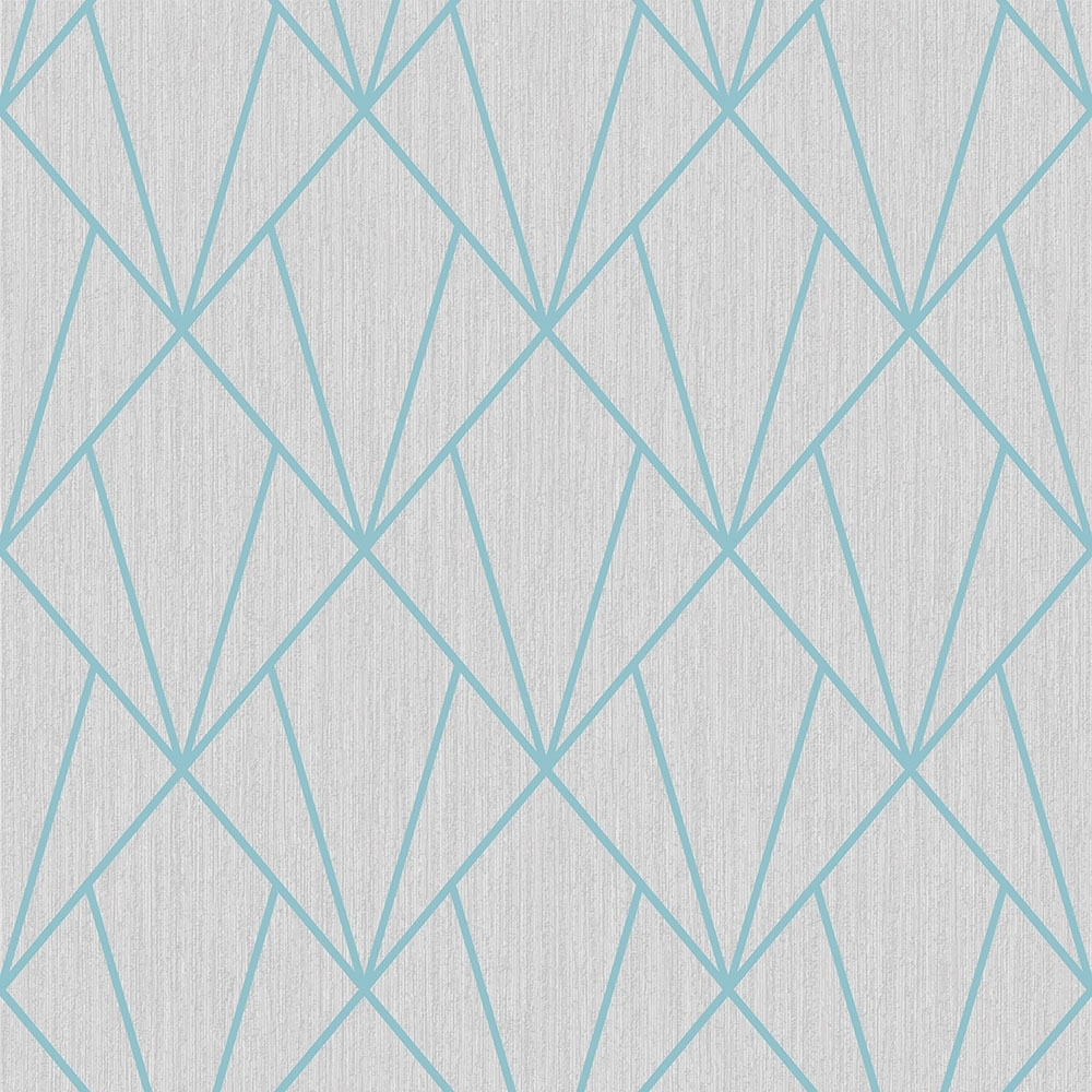 Indra Geometric Glitter Wallpaper Grey Blue Wallpaper