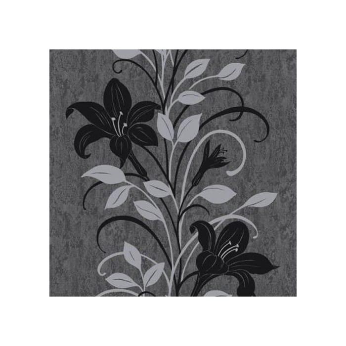 Vymura Isabella Floral Wallpaper Black Charcoal Silver