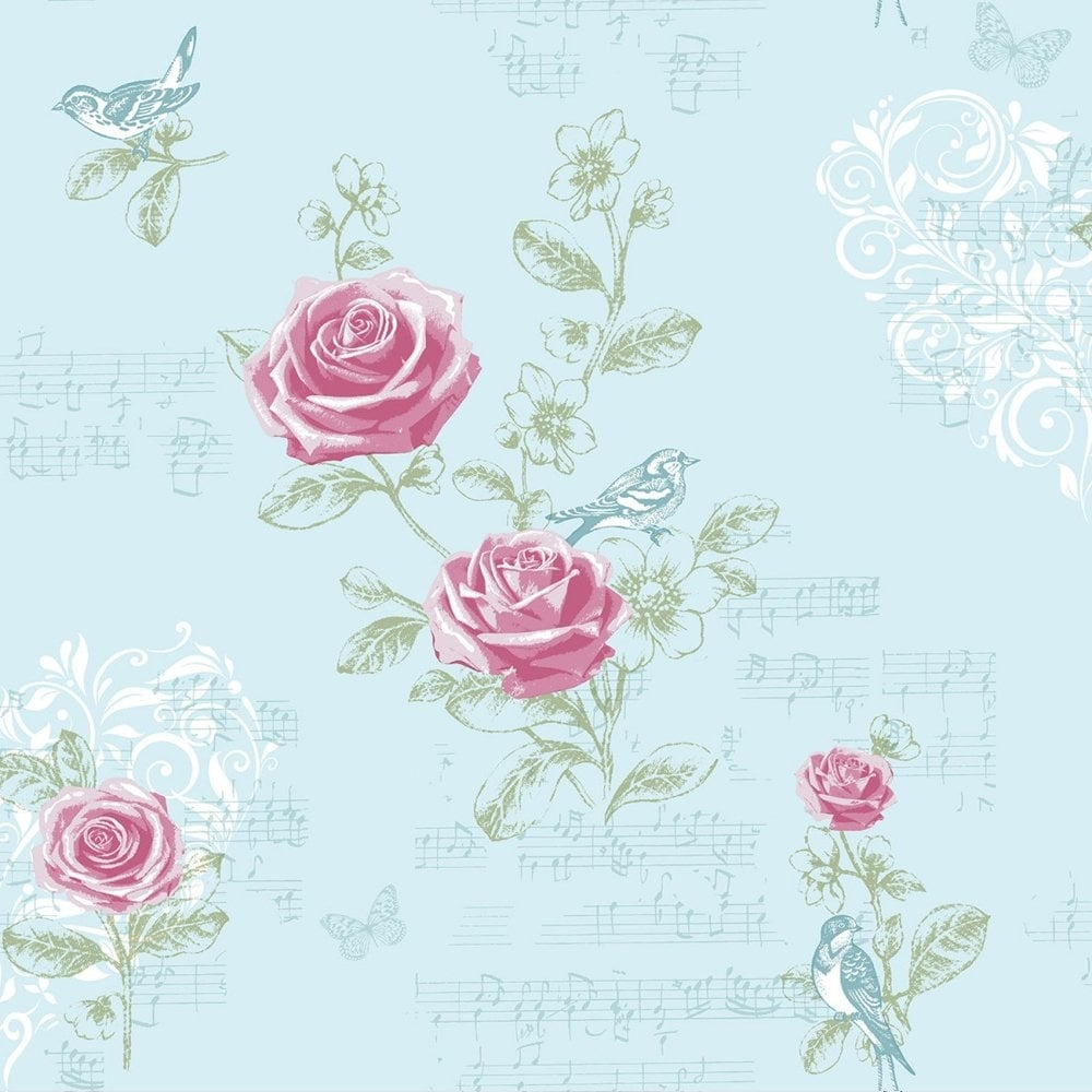 Coloroll Jenny Wren Wallpaper Duck Egg M0833 Wallpaper