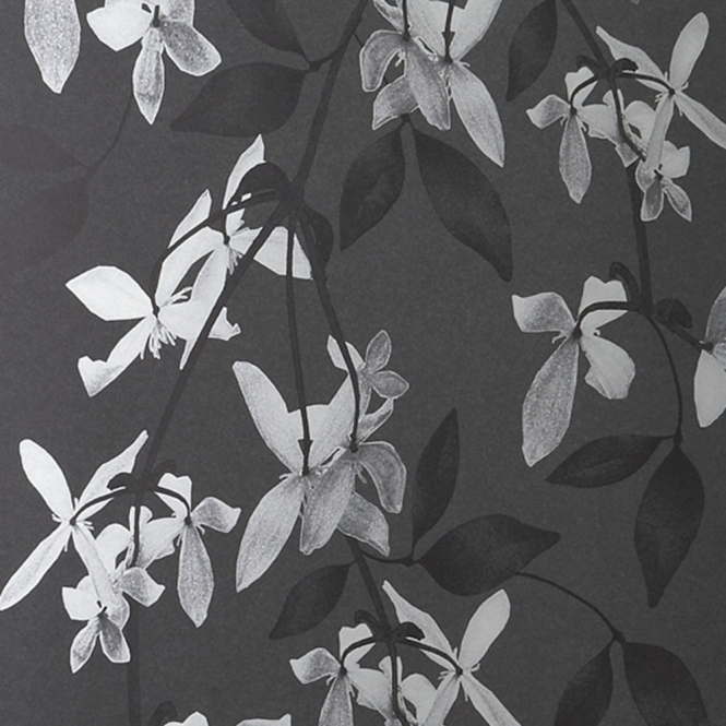 Jocelyn Warner Cascade Hand Screen Printed Floral Wallpaper Ivory, Black (JWP-1201)