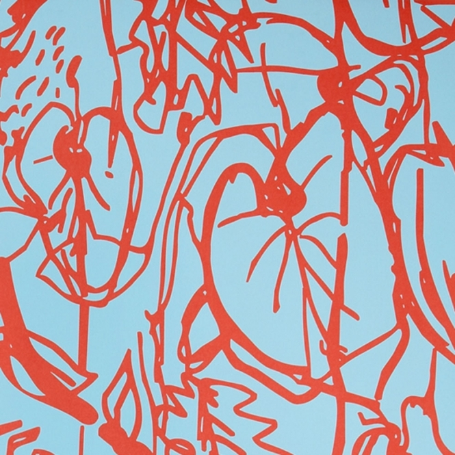 Jocelyn Warner Kew Hand Screen Printed Floral Drawings Wallpaper Turquoise, Red (JWP-605)