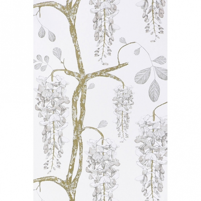 Jocelyn Warner **Sample** Wisteria Hand Screen Printed Floral Wallpaper Pearl (JWP-1502-SAMPLE)