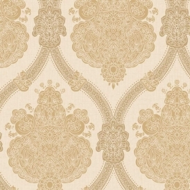 K2 Moselle Damask Wallpaper Cream, Beige