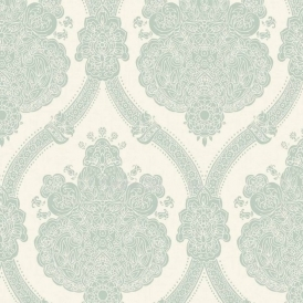 K2 Moselle Damask Wallpaper Teal