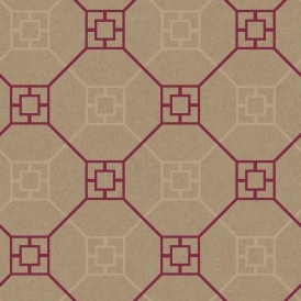 Kato San Geometric Flock Wallpaper Red